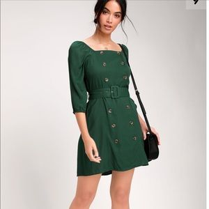 Forest Green Belted Mini Dress